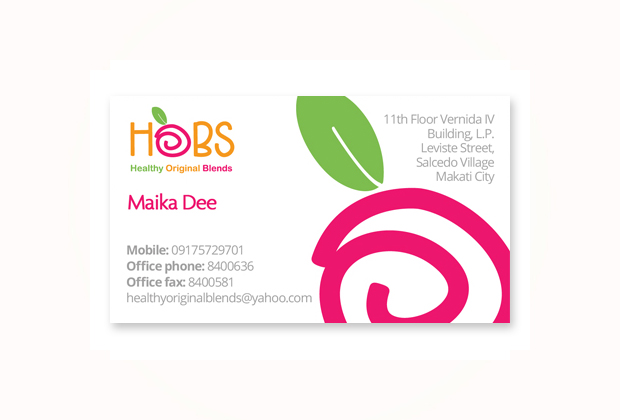 Hobs business card design makati