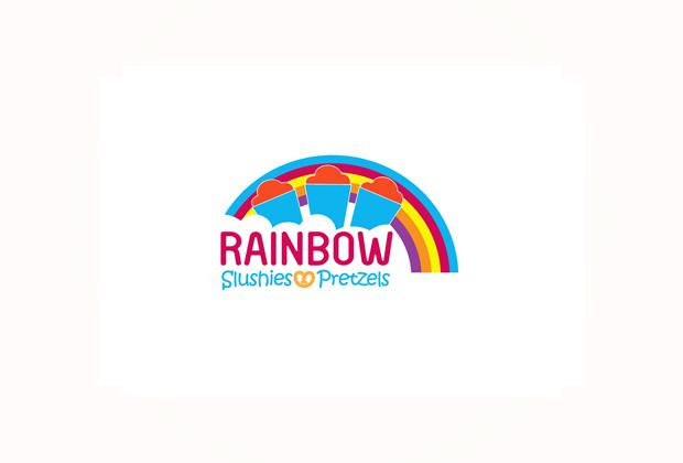rainbow slushies and pretzels logo design iloilo